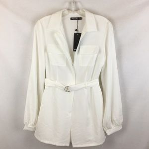 Nasty Gal White Belted Zip Up Romper Shorts